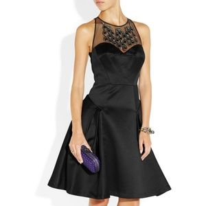Milly Black Aviana Embellished Sateen Dress